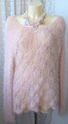 Свитер женский вязаный пушистый ажурный травка бренд New Look р.48 5609