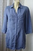 Рубашка женская удлиненная туника льняная лен бренд Public р.46-48 5957