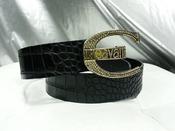 Кожаный пояс Roberto Cavalli ( оригинал ),  цвет - черный.