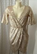 Платье женское вечернее блестящее расшитое золотистыми пайетками миди бренд TFNC London р.44 6032