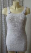 Туника женская вязаная жилетка пушистая теплая необычная белая р.42-44 6120