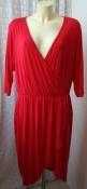 Платье женское летнее красное модное вискоза стрейч миди бренд Boohoo р.52 6385