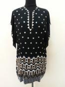 Роскошный шелковый блузон / туника Jenny Packham, украшен россыпями бисера, стекляруса  и пайеток.