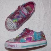 Светящиеся блестящие кроссовки Skechers на девочку - 24 размера, 15 см стелька