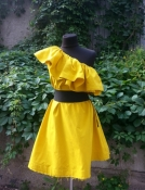Платье из плотного хлопка H&M ( Hennes & Mauritz ), оригинал, цвет - ярко желтый.
