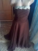 Вечернее брендовое платье-бандо с ажурной вышивкой