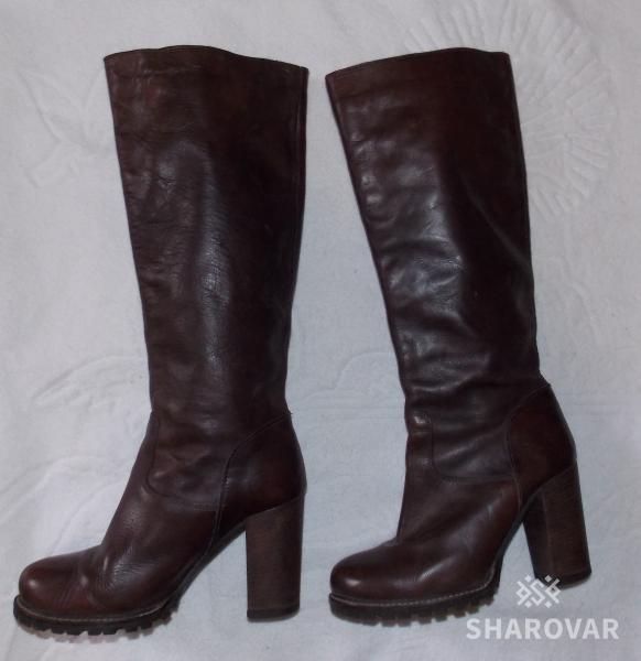 4edd1f67d Шикарные демисезонные коричневые женские сапоги - 35 размера. Румыния