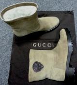 Сапожки Gucci (оригинал), низкий ход, замш, внутри натуральный мех.