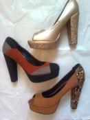 Роскошные туфли 39-40р. 25,5-26 см. устойчивый каблук