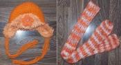 Зимняя теплая шапка-ушанка на девочку до 3-4 лет. С шарфиком не с комплекта
