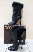 Сапоги Roberto Cavalli, оригинал, кожаные, еврозима, цвет -  черный.