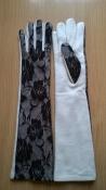 Шикарные длинные теплые перчатки р.М/L с кружевными вставками