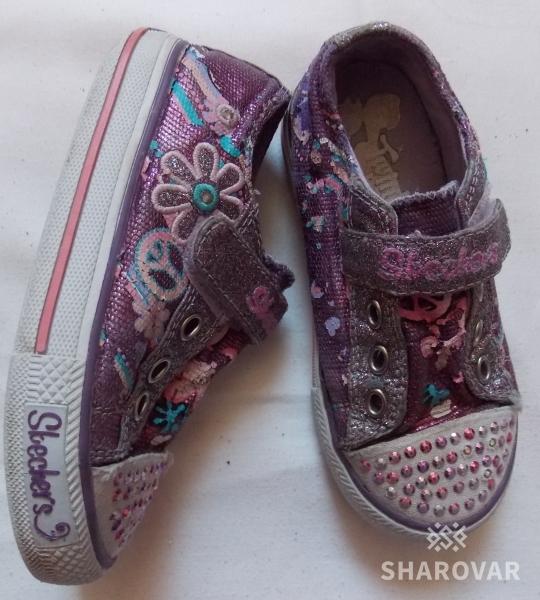 Блестящие кеды-кроссовки Skechers на девочку - 25 размера, 16 см стелька 971abc12208