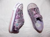 Блестящие кеды-кроссовки Skechers на девочку - 25 размера, 16 см стелька