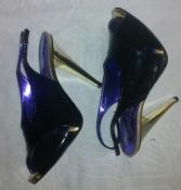 Черные лаковые нарядные итальянские босоножки Sergio Зelcer на каблуке - 10 размер, 26,5 см
