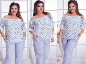 Блуза с дельфинчиками БАТАЛ+++