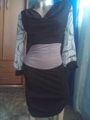 Платье трикотажное с шифоновыми рукавами