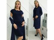 Комплект платье+ кардиган клетка +++БАТАЛ
