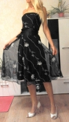Нарядное черное платье с сеткой и вышивкой f&f