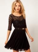 Черное вечернее платье с ажурной вязкой и сеточкой