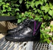 Женские кроссовки / кеды Gucci, оригинал, кожаные, цвет - черный.