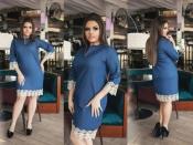 Платье джинс кружево +++ БАТАЛ