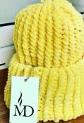 Шапка вязаная плюш велюр унисекс желтая лимонная новая теплая демисезон осень зима весна мягкая нежная не колется!