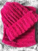 Шапка и снуд вязаная плюш велюр унисекс бордовый новый осень зима