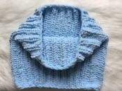 Снуд хомут шарф вязаный ручная работа голубой велюр новый теплый handmade