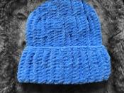 Шапка вязаная плюш велюр унисекс васильковый синий голубой индиго лазурный новый осень зима