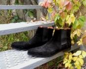 Мужские ботинки Челси Santoni, оригинал, нубук, цвет - черный.