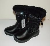 Сапоги теплые кожаные для девочек черные Bessky 27-30