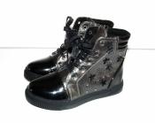 Ботинки демисезонные для девочек черно серые ( 32-37 )