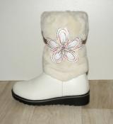 Сапоги зимние девочкам кожаные белые красивый принт 33 - 38