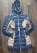 Сине-бежевое теплое болоньевое пальто АSSIKA - 46-48 размер