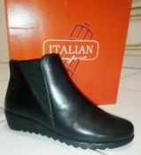 250 мм Italian Shoemakers кожаные женские ботинки черные узкая стопа