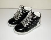 Ботинки для девочек черные c серебром Clibee Румыния 27-32