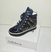Ботинки сникерсы демисезонные синие со стразами маломерки на 30-33