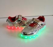 Кроссовки серебро с LED подсветкой и USB зарядкой 32-37