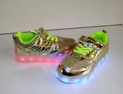 Кроссовки золото с LED подсветкой и USB зарядкой 26-31