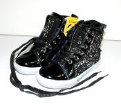 Ботинки для девочек черные c серебром Clibee 27-32