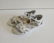 Детские подростковые босоножки серебряные ромашка 31-36
