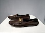 Мокасины Prada, оригинал, кожаные, цвет - темно / коричневый.