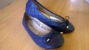 Синие стеганные балетки 26, 31-35 р. в стиле Шанель кожаная стелька