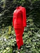 Платье Sportmax, оригинал, шелк / еласта́н, цвет - красный.