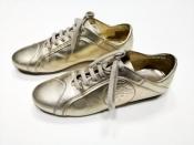 Кроссовки Versace, оригинал, кожаные, цвет - золотой.
