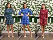 Платье цветной принт с рюшами