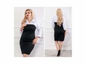 Платье черно-белое ХЛ+