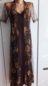 Вечернее длинное стрейчевое платье с открытой спиной и прозрачной накидкой разм.xl