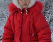 Очень теплое красное пальто на девочку - 110 -120 см. Натуральный мех